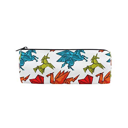 Ahomy - Estuche para lápices con diseño de dragón de origami y unicornio, con cremallera, para adolescentes y niños, bolsa de maquillaje de viaje para mujeres