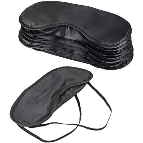 POFET Augenmaske Soft Shade Cover mit Nasenpad für Schlafstörungen, Augenbinden-Spiele oder Mittagspause, 10 Stück - Schwarz