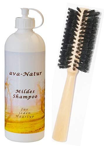 Set Ava Natur mildes Shampoo 200 ml + GRATIS 1 x Rundbürste Bürste Holz weiche Wildschwein Borsten Grundpreis € 9,25