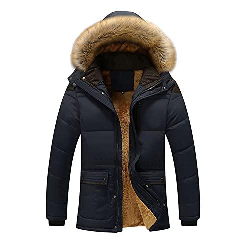 BIKETAFUWY Parka d'hiver pour homme - Manteau d'hiver chaud et long doublé - Avec capuche en fourrure synthétique - Veste d'hiver chaude - Veste de ski imperméable, bleu foncé, XXXL