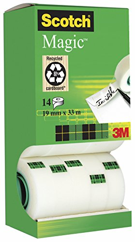 3M Scotch Magic - Cinta adhesiva transparente (14 rollos, 19 mm x 33 m), transparente