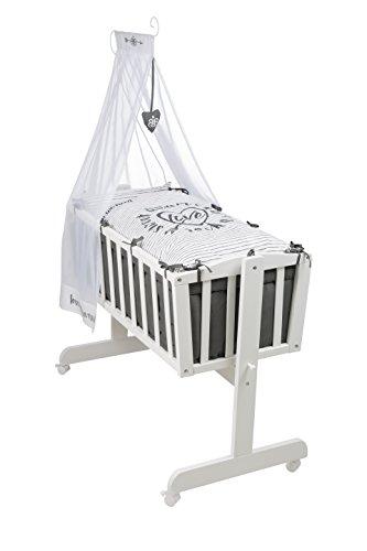 roba Komplettwiegenset, Babywiege 'Rock Star Baby 3' (40x90cm), Holz, weiß, Stubenwagen & Wiege mit Feststellfunktion, Wiegenset inkl. kompletter Ausstattung & Baby Bettwäsche (80x80cm)