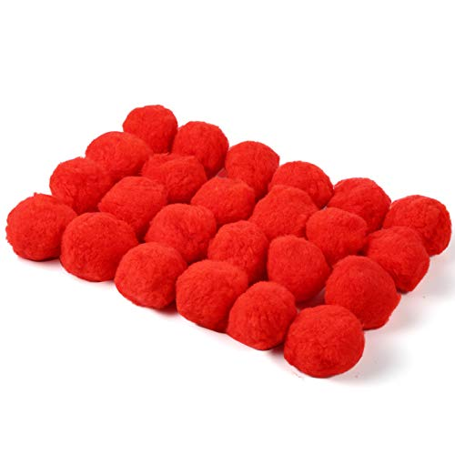 Pllieay 24pcs 6CM Fluffy Pom Poms Balls Arts and Crafts for DIY Creative Crafts Decorations, Red