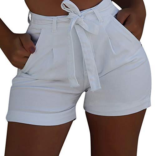 Allence Pantalones cortos de verano para mujer, pantalones cortos para mujer, diseño informal, cintura alta, sueltos, con cinturón, Blanco, S