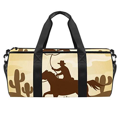 PLOKIJ - Borsone da viaggio per uomo e donna, 45,7 cm, con tasca bagnata, silhouette da cowboy equitazione