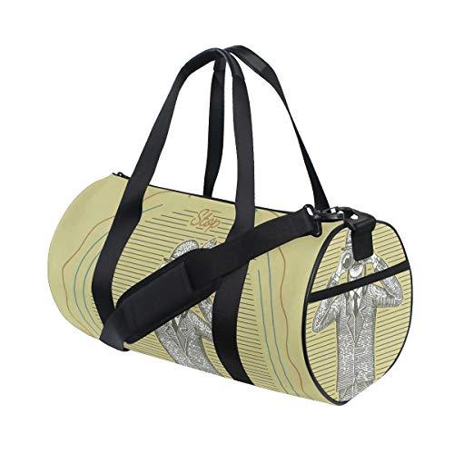 ZOMOY Sporttasche,Skizzen Mann in der Klage,die durch Ferngläser schaut,hören nie auf,Ornithologie zu erforschen,Neue Bedruckte Eimer Sporttasche Fitness Taschen Reisetasche Gepäck Leinwand Handtasche