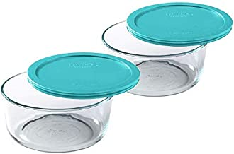 Pyrex 2 Cup Glass Food Storage Set 2 Pack Turquoise Lid