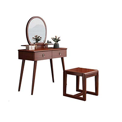 ZHNA Goldene Seide Nussbaum Frisierkommode Schlafzimmermöbel mit Doppel Schubladen, mit Make-up-Spiegel und Make-up Hocker 95x42x76cm