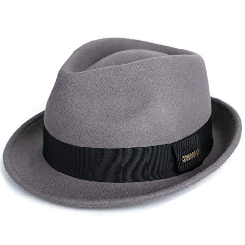 Sedancasesa Mens Felt Fedora Hat Unisex Classic Manhattan Indiana Jones Hats (Large, Grey)