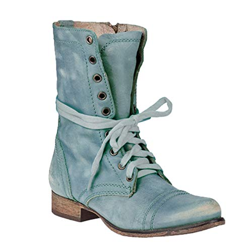 Leder Stiefe für Damen Retro Blockabsatz Stiefeletten Frauen Bequeme Schuhe Sohle Mode Herbst...