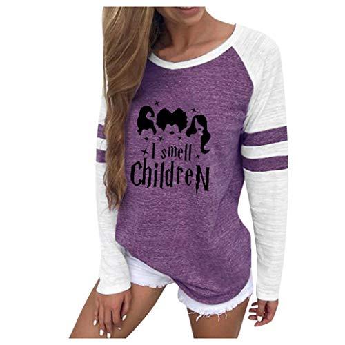 Feytuo Sweatshirt Damen Muster Locker Schön Frauen T-Shirt Sport Freizeit Pullover Elegant Casual Mode Oversize Top Einfarbig Weihnachten Halloween Sale