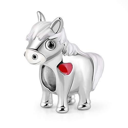 GNOCE Horse 925 Sterling Silver Charm Bead Artísticamente Talentoso Zodiac Charm Colgante Perla Perla Fit Pulsera/Collar Regalo De Joyería para Mujeres Hombres