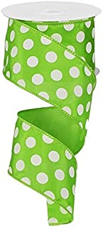 Polka Dot Wired Edge Ribbon - 2.5 Inches x 10 Yards (Lime Green, White) : RG158833
