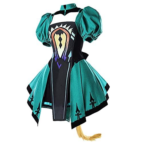 Matino Afforable - Juego de 6 piezas para fotografía, disfraz de cosplay para FGO, Atalanta, Lolita, vestido sin espalda, con accesorios (color: 6 piezas/set, tamaño: M)