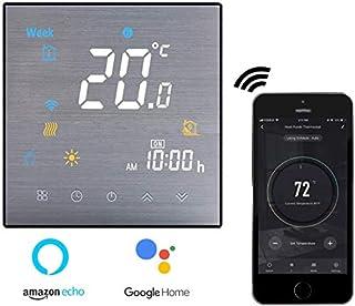 Termostato Inteligente para caldera de gas,Termostato Calefaccion Wifi Pantalla LCD (Panel cepillado) Botón táctil retroiluminado programable con Alexa Google Home and Phone APP