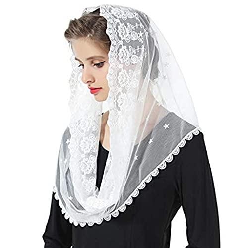 KLOVA Mujeres Musulmanas Infinity Floral Lace Velo Bufanda Boda Novia Capilla Que Cubre la Cabeza Estilo del Abrigo Misa Latina Mantilla Hijab católico para la Iglesia