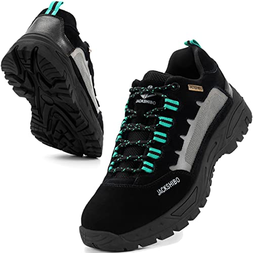 JACKSHIBO Wanderschuhe Herren Damen Trekkingschuhe Leicht Atmungsaktiv Traillaufschuhe Walking Schuhe Wanderhalbschuhe Outdoorschuh (46 EU,Schwarz)