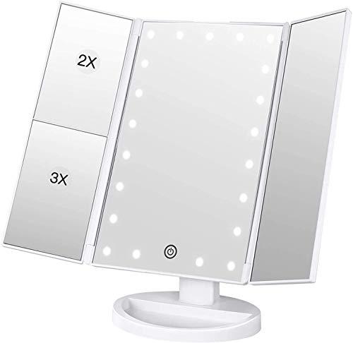 BESTOPE Schminkspiegel 3 Seiten Kosmetikspiegel Tischspiegel mit 21 LED Dimmbare Helligkeit und 1X 2X/ 3X Vergrößerungsspiegel 180 ° Drehung Faltbar Makeup Spiegel für Schminken Rasieren