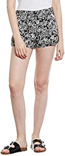 oxolloxo Women's Polyester Paisley Printed Shorts (Black)