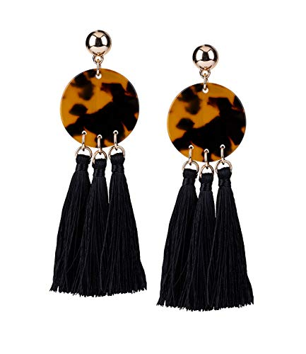 SIX 1 pc. of ladies earrings, earrings, statement earrings, trend piece, horn optic, tassel, semicircle, circle, gold, brown, black (784-159)