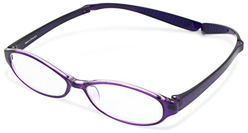 デューク 老眼鏡 首掛け +2.5 度数 ネオクラシック ネックハグ ソフトケース付き パープル GLR-22-5+2.50