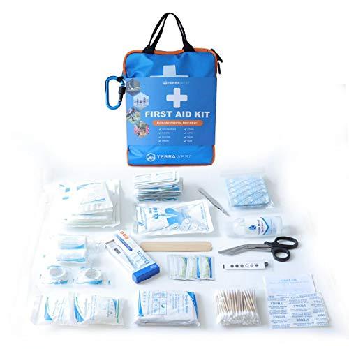 TerraWest Core First Aid Lite, 120-teiliges Erste-Hilfe-Set – klein & kompakt, inklusive Notfalldecke, Schere, sofortiger Kühlpack, für Reisen, Zuhause, Sport, Fahrzeug und mehr