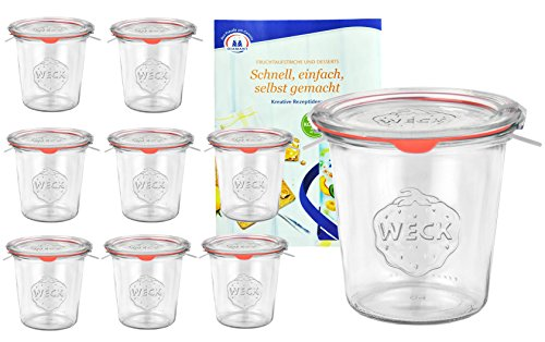 MamboCat 9er Set Weck Gläser 580ml 1/2 Liter Sturzgläser mit 9 Glasdeckeln, 9 Einkochringen und 18 Klammern inkl. Diamant-Zucker Gelierzauber Rezeptheft I Original Weck Sturzgläser für Kuchen UVM