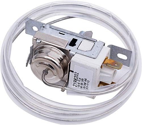 2198202 Refrigerator Freezer Thermostat Temperature Controller Replacement for Whirlpool, Kenmore, Roper, Estate, Crosley, Inglis, KitchenAid, Maytag, Amana Refrigerators, Replaces 2161284 2198201