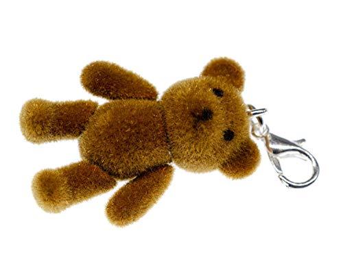 Miniblings Teddy Bär Charm Teddybär Flock Hellbraun - Handmade Modeschmuck I Kettenanhänger versilbert - Bettelanhänger Bettelarmband - Anhänger für Armband