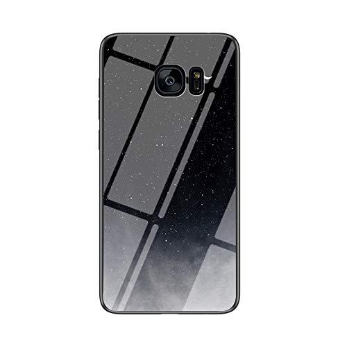 MadBee Funda para Samsung Galaxy S7 Edge [con Protector de Pantalla],9H Cristal Templado [Cielo Estrellado] + Borde de TPU Silicona Suave Fundas Case Cover (Cielo Estrellado Negro)