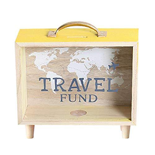 OurLeeme Caja para Ahorrar Dinero, Hucha de Madera Moneda de Vidrio Transparente Caja para Ahorrar Dinero Caja de Monedas Profunda Decoración de la habitación para niños Adultos en Familia (Amarillo)