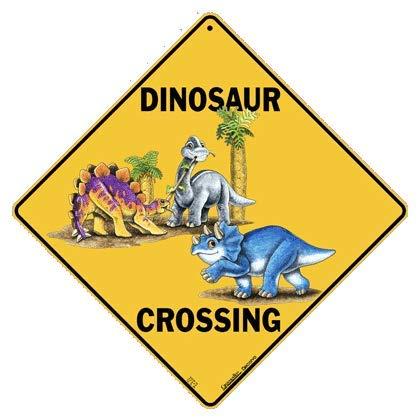 Crosswalks Dinosaurier-Schild für Jungen Schlafzimmer – Dinosaurier-Zimmerdekoration für Jungen, 30,5 x 30,5 cm, Aluminium Schild Dinosaurier Babys