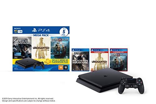 Console PlayStation 4 1TB Bundle Hits 7 - Call of Duty: Modern Warfare, Uncharted: The Nathan Drake Collection, God of War - PlayStation 4 (Versão Nacional)