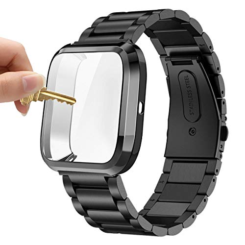 Maxjoy Compatible with Fitbit Versa Bands, Versa 2 Metal Band Large Stainless Steel Bracelet Wristband with Protective Cover Case for Men Women, Compatible with Fitbit Versa 2 1 Smart Watch, Black