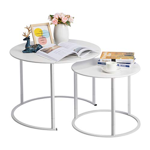 HollyHOME Modern Round Side Table Set of 2, Contemporary Accent Coffee and Snack End Table with Metal Frame, Nesting Tea Table for Living Room, (D) 27.56' x(H) 19.69', (D) 19.69' x(H) 15.75', White