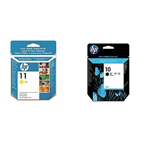HP 11 C4813A, Amarillo, Cabezal Original,para impresoras Business Inkjet Serie 1000, 2000 + 10 C4844A, Negro, Cartucho Original de Tinta, Compatible con impresoras de inyección de Tinta