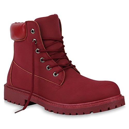 stiefelparadies Herren Schuhe Worker Boots Bequeme Outdoor Profil Leder-Optik 151032 Rot 42 Flandell