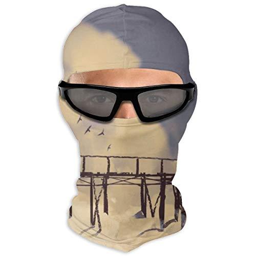 N/Een Full Face Masker Man Staand Op Oude Brug In Wolken Hood Zonnebrandmasker Dubbele Laag Koud Voor Mannen En Vrouwen