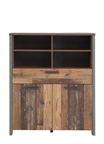 FORTE Wohnzimmerschrank, Highboard in trendigem Vintage/Industrial Look