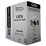 Cat6 Plenum 1000FT | Blue, White & Grey | 550MHz Solid Bulk UTP 23AWG Network Cable, US Network Cables | White