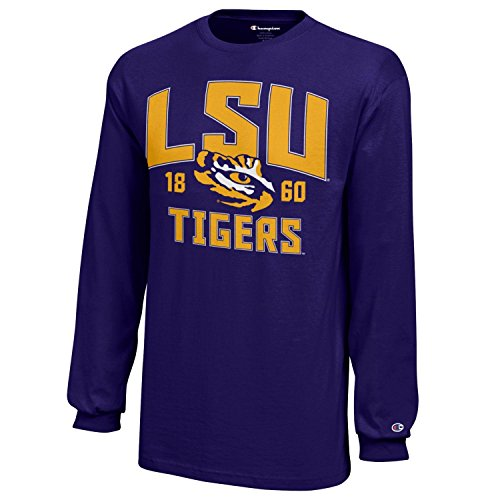NCAA Champion Boy's Long Sleeve Jersey T-Shirt Lsu Tigers Large