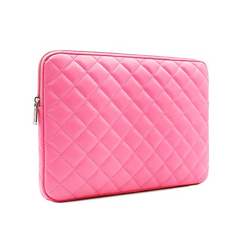 RAINYEAR 11 inch Laptop Sleeve Diamond PU Leather Case Protective Shockproof Water Resistant Cover Bag Compatible with 11.6 MacBook Air Surface for 11' Chromebook Notebook Ultrabook(Rose Red)
