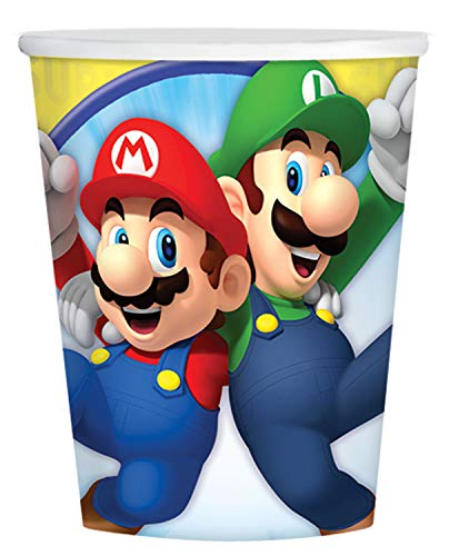 amscan 9901537 8 Papierbecher Super Mario, 250 ml, Mehrfarbig