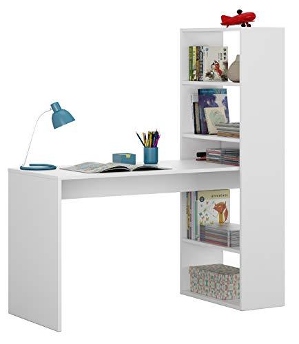 Bricozone Kirkensen Scrivania con Libreria Reversibile, Scrittoio Scaffali Laterali Mobile Desk da Ufficio Soggiorno Sala da Pranzo, 120 x 144 x 53 cm, Bianco