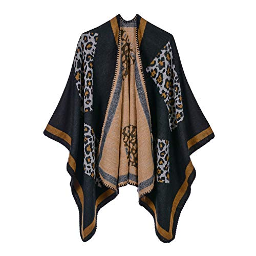 Women's Leopard Pattern, Cashmere-Like Scarf, Dual-Purpose Air-Conditioning Shawl Cloak, 19005 2