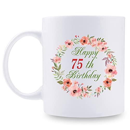 75th Birthday Gifts for Women - Happy 75th Birthday with A Garland Birthday Mug - 75 Year Old Present Ideas for Grandma, Mom, Sister, Wife, Friend, Cousin, Aunt - 11 oz Coffee Mug (75th Birthday Gift)