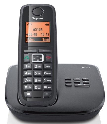 Gigaset A510A Schnurlostelefon (beleuchtetes Display, Anrufbeantworter, DECT) schwarz