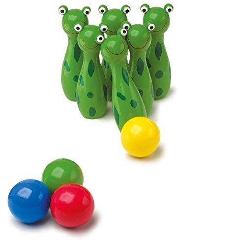 """Mini - Kegel """"Frosch"""" Jetzt macht das Kegeln besonders Spaß. Die niedlichen Frösche mit ihren großen Augen begeistern die Kleinsten für den Kegelsport."""