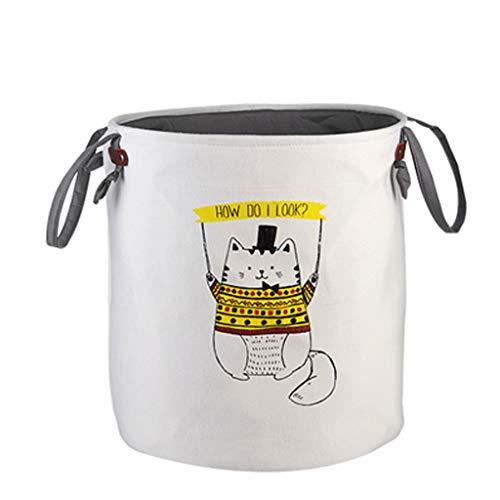 Stof belemmert mand Familie kleding speelgoed opslag emmer opvouwbare wasmand (Color : Yellow cat)