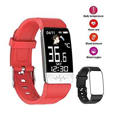 Fitness Tracker - Activity Tracker with Blood Oxygen, Blood Pressure, Heart Rate and Body Thermometer, Sleep Monitoring, Step Counting, Smart Watch for Men and Women (red+Black)